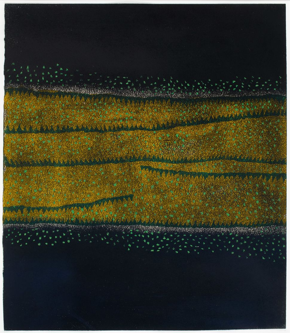 "Yayoi Kusama, ""The Hill,"" 1953. Gouache, pastel, oil paint, and wax on paper. 14 3/8 x 12 3/8 in."