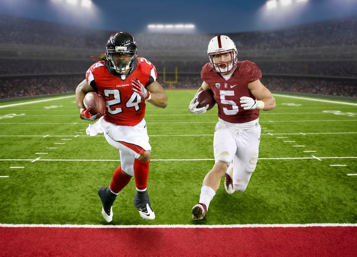 Former Stanford running back Christian McCaffrey (right) possesses many of the same qualities as Falcons' two-time Pro Bowl r