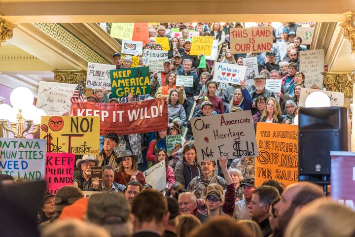 People gather at the state capital for a rally in support of federal public lands on Jan. 30 in Helena, Montana.
