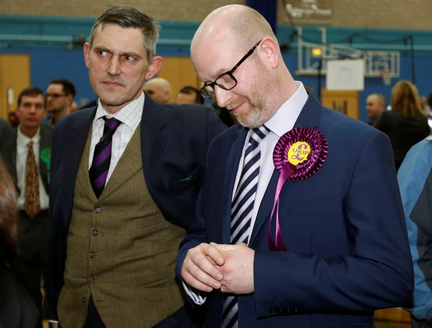 Ukip leader Paul Nuttall (R) reacts after losing the Stoke Central by-election in Stoke on