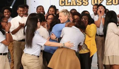 Watch Ellen DeGeneres Give College Scholarships To A Whole Senior