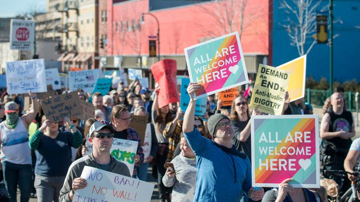 A solidarity march for immigrants and refugees in Minneapolis Minnesota. February 18, 2017.