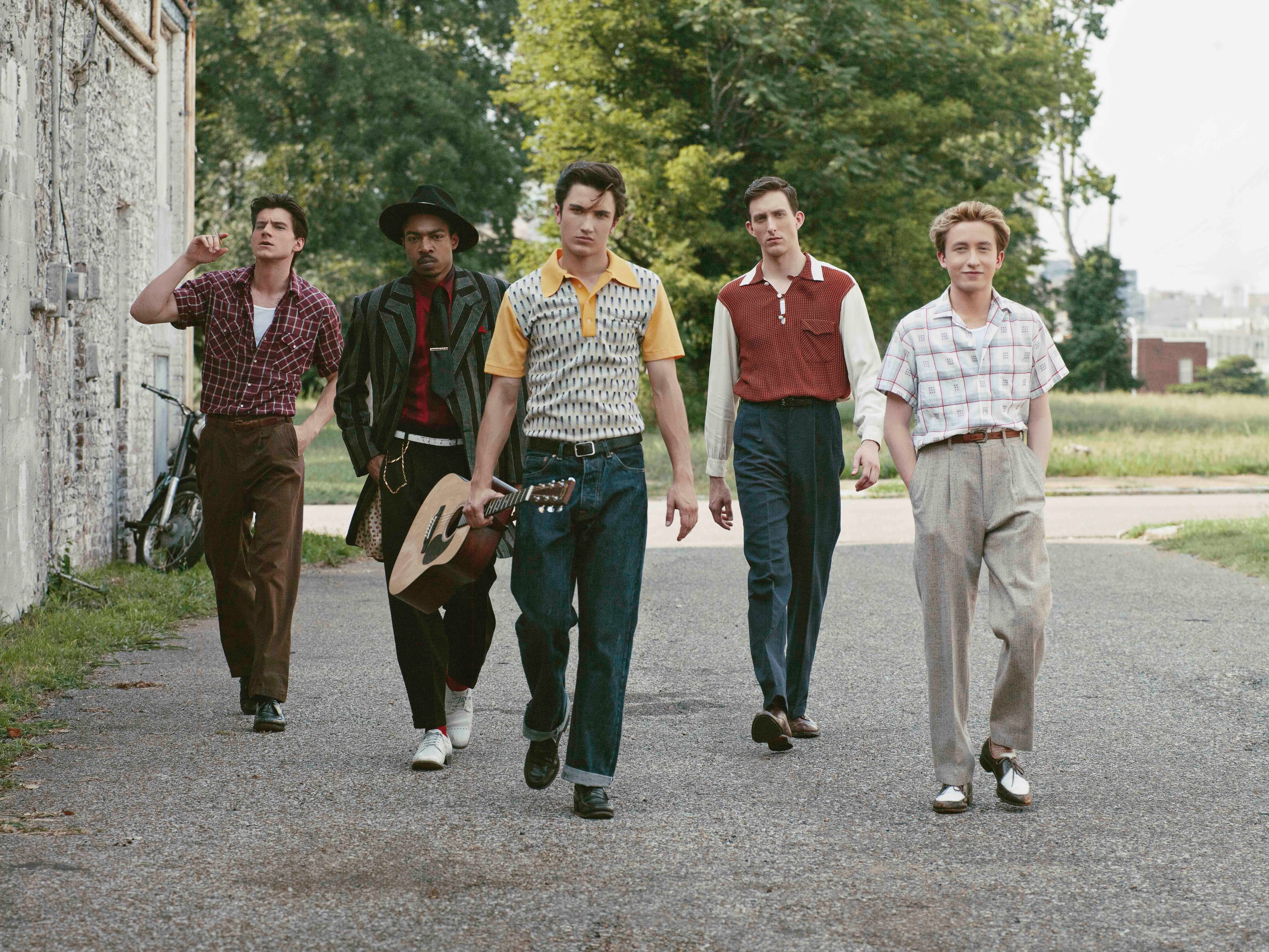 """The cast of """"Sun Records"""" on a stroll."""