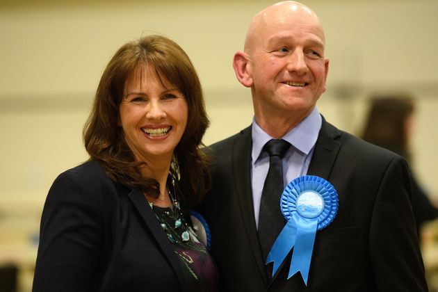 Newly-elected Tory MP for Copeland, Trudy Harrison and her husband