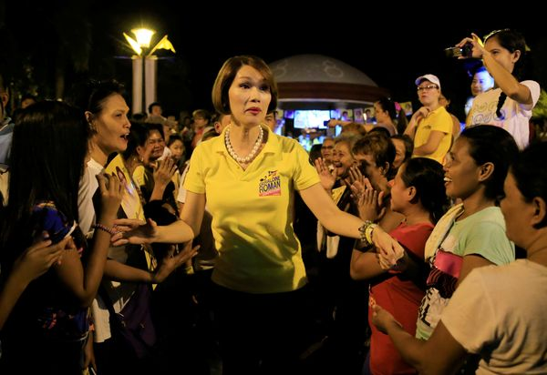 """Geraldine Roman, a transgender congressional candidate, is greeted by her supporters during a """"Miting de Avance"""" (last politi"""