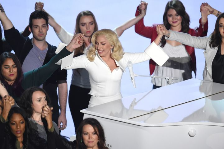 Lady Gaga performs onstage during the 88th Annual Academy Awards.