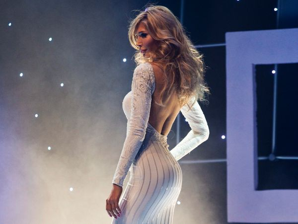 Transgender contestant Jenna Talackova takes part in the Miss Universe Canada competition wearing her evening gown in Toronto