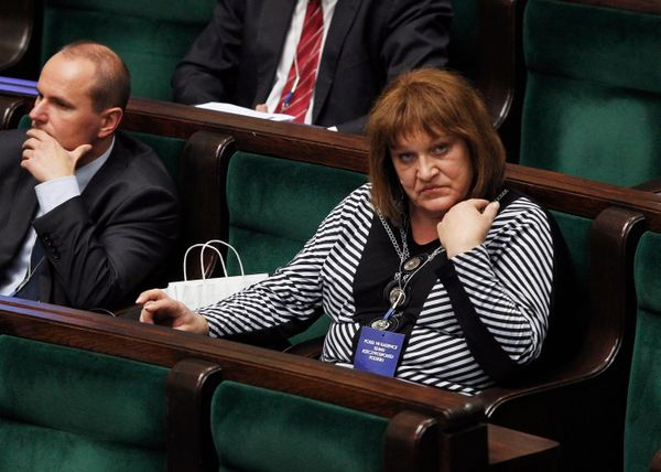 Anna Grodzka, Poland's first transgender lawmaker, attends an introductory session of the Polish parliament for newly elected