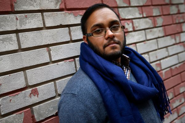 Naz Seenauth, a transgender man, poses in New York on Oct. 22, 2014. Seenauth's driver's license says he is male. His birth c