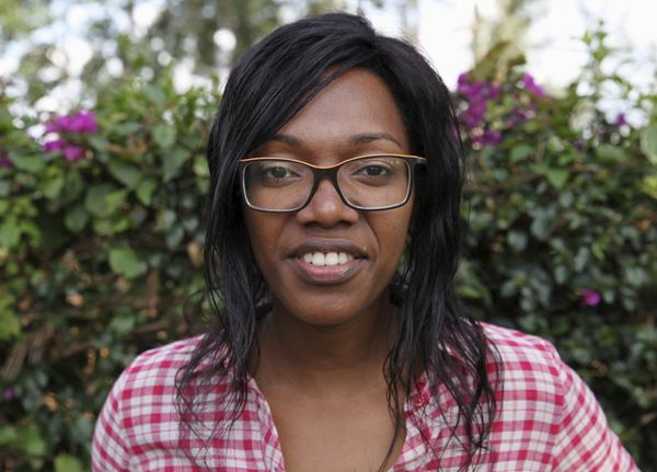 Audrey Mbugua, 31, Kenya's most famous transgender campaigner, poses for a photograph in her garden in Kiambu, outside