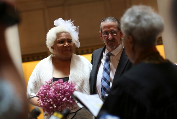 Randy Dolphin and transgender activist Veronika Lee-Tillman are married at City Hall in San Francisco on June 28, 2013. San F