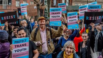 STONEWALL NATIONAL MONUMENT, NEW YORK, UNITED STATES - 2017/02/23: A coalition of over 50 LGBTQ rights organizations and New York Elected Officials held an emergency rally to oppose Trump attack on Trans Students at the Stonewall National Monument; participating trans speakers and Government Officials made it clear that they will fight to keep protections for trans and gender non-conforming people and students in the aftermath of the Trump-Pence Administration rescinding important protections for transgender students in schools. (Photo by Erik McGregor/Pacific Press/LightRocket via Getty Images)