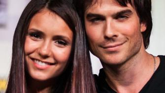 SAN DIEGO, CA - JULY 14:  Actors Nina Dobrev (L) and Ian Somerhalder attend the 'Vampire Diaries' panel at San Diego Convention Center on July 14, 2012 in San Diego, California.  (Photo by Chelsea Lauren/WireImage)