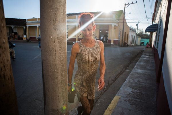 Malu walks the streets of Sancti Spiritus.