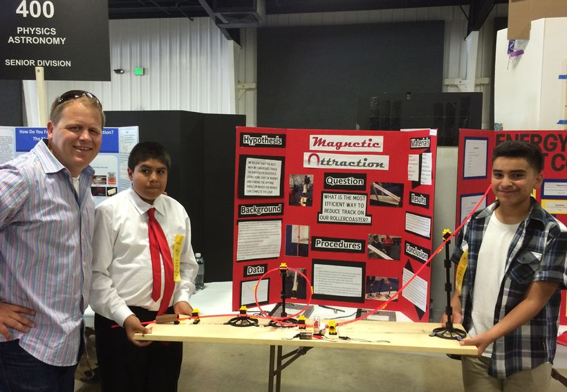 Two students compete in the Orange County Science and Engineering Fair that worked on their project after school, a program s
