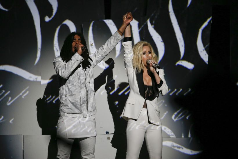 Katy Perry and Skip Marley performing at the Grammy Awards.