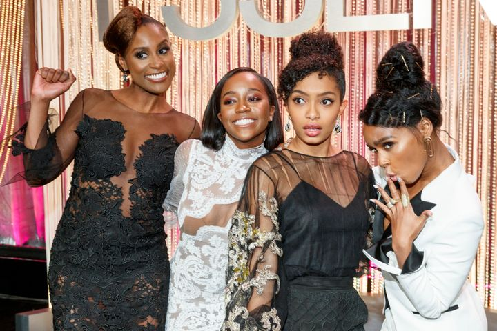 Honorees Issa Rae, Aja Naomi King, Yara Shahidi and Janelle Monae onstage at Essence Black Women in Hollywood Awards.