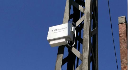 Air quality sensor mounted on a utility stanchion in Central Copenhagen.