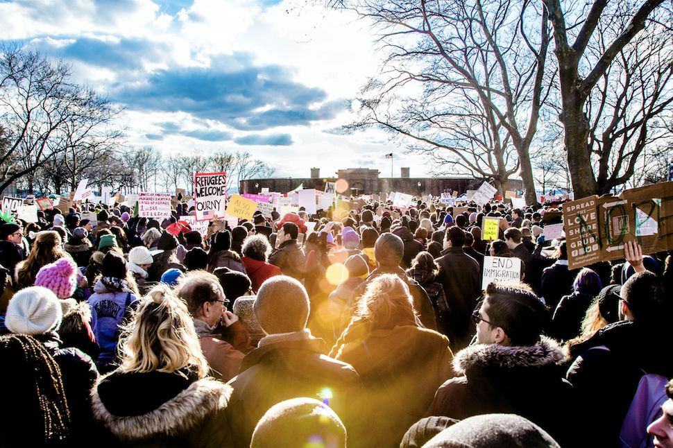 Rally for immigrant rights at Battery Park, NYC, Jan. 29