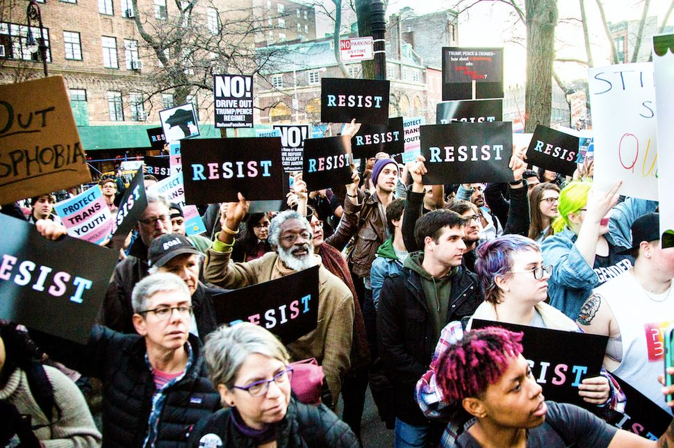 Rally for transgender rights in Greenwich Village, NYC, Feb. 23