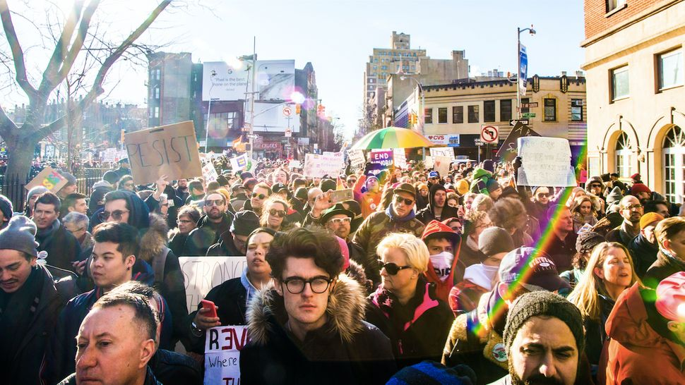 Rally for LGBTQ rights in Greenwich Village, NYC, Feb. 4