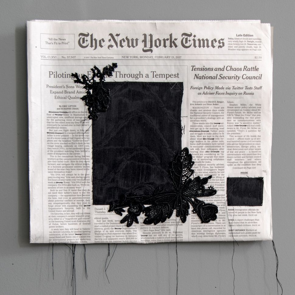 """<strong>Spencer Merolla, """"</strong>Editorialized,"""" 2017, 18"""" w x 22"""" (inclusive of threads), newspaper, clothing worn in mour"""
