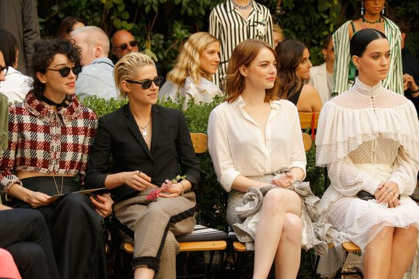 <strong>Oct. 26, 2016: </strong>Annie Clark, Kristen Stewart, Emma Stone and Katy Perry at the CFDA/Vogue Fashion Fund S