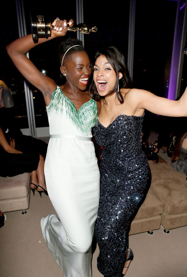 <strong>March 2, 2014:</strong> Lupita Nyong'o and Rosario Dawson at the Vanity Fair party.