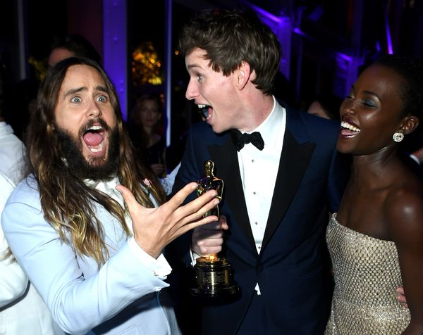 <strong>Feb. 22, 2015:</strong> Jared Leto, Eddie Redmayne and Lupita Nyong'o at the Vanity Fair party.