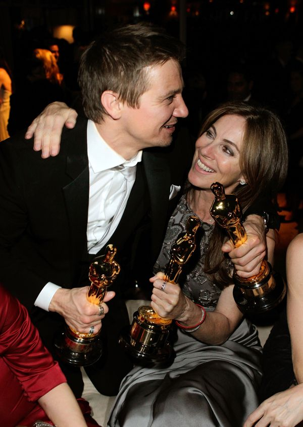 <strong>March 7, 2010: </strong>Jeremy Renner and Kathryn Bigelow at the Vanity Fair party.