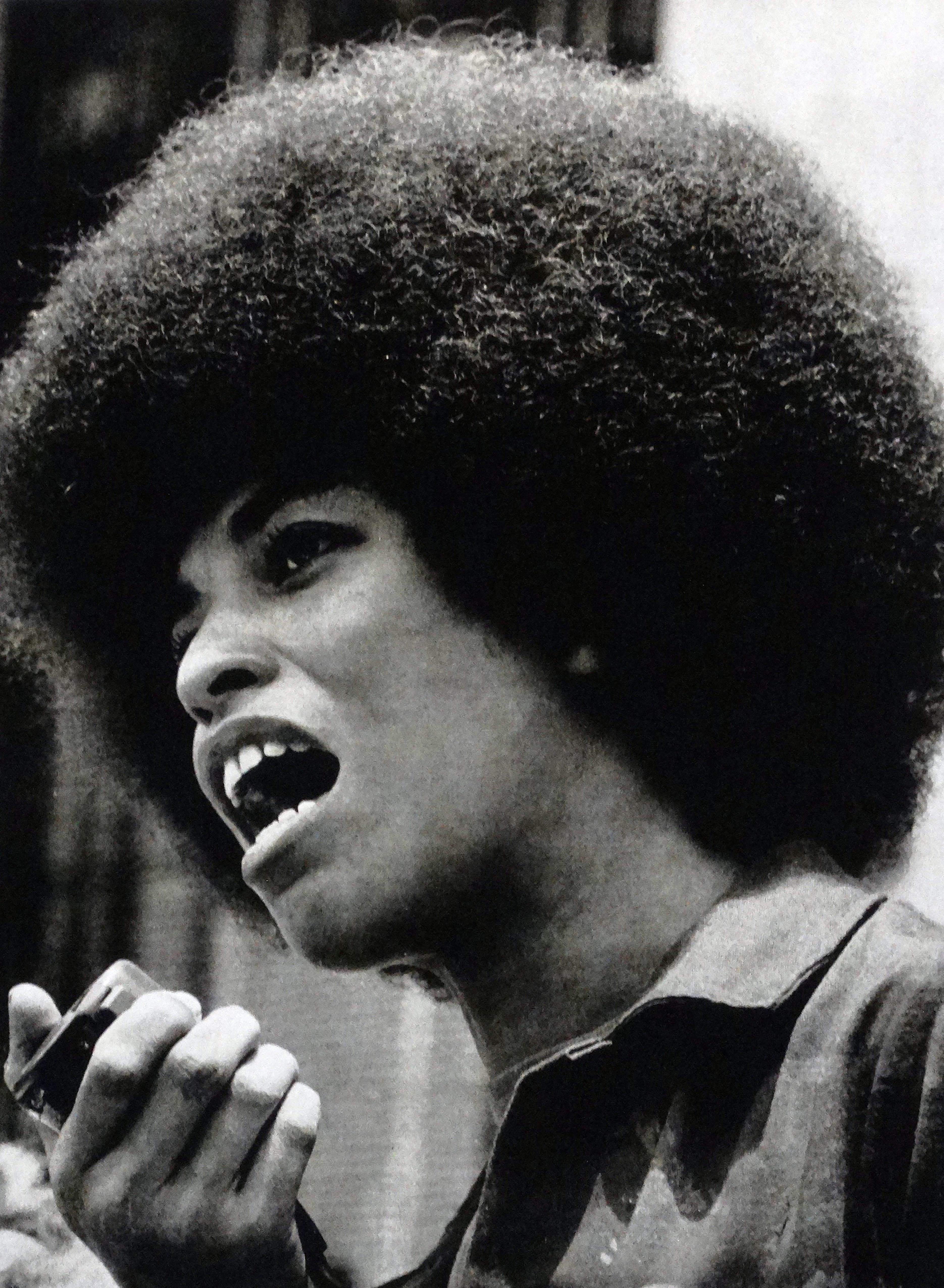 Angela Davis, American political activist, scholar and author. She emerged as a prominent countercultural activist and radical in the 1960's as a leader of the Communist Party USA. (Photo by: Universal History Archive/UIG via Getty Images)
