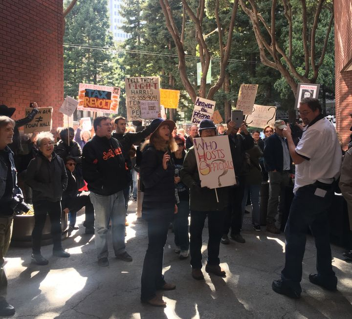 Protests continued after Feinstein's event concluded.