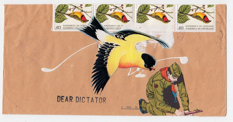 "<strong>Allan Bealy, ""</strong>Dear Dictator,"" collage on international mailing envelope with stamps and stamping, 2013, 8.5"