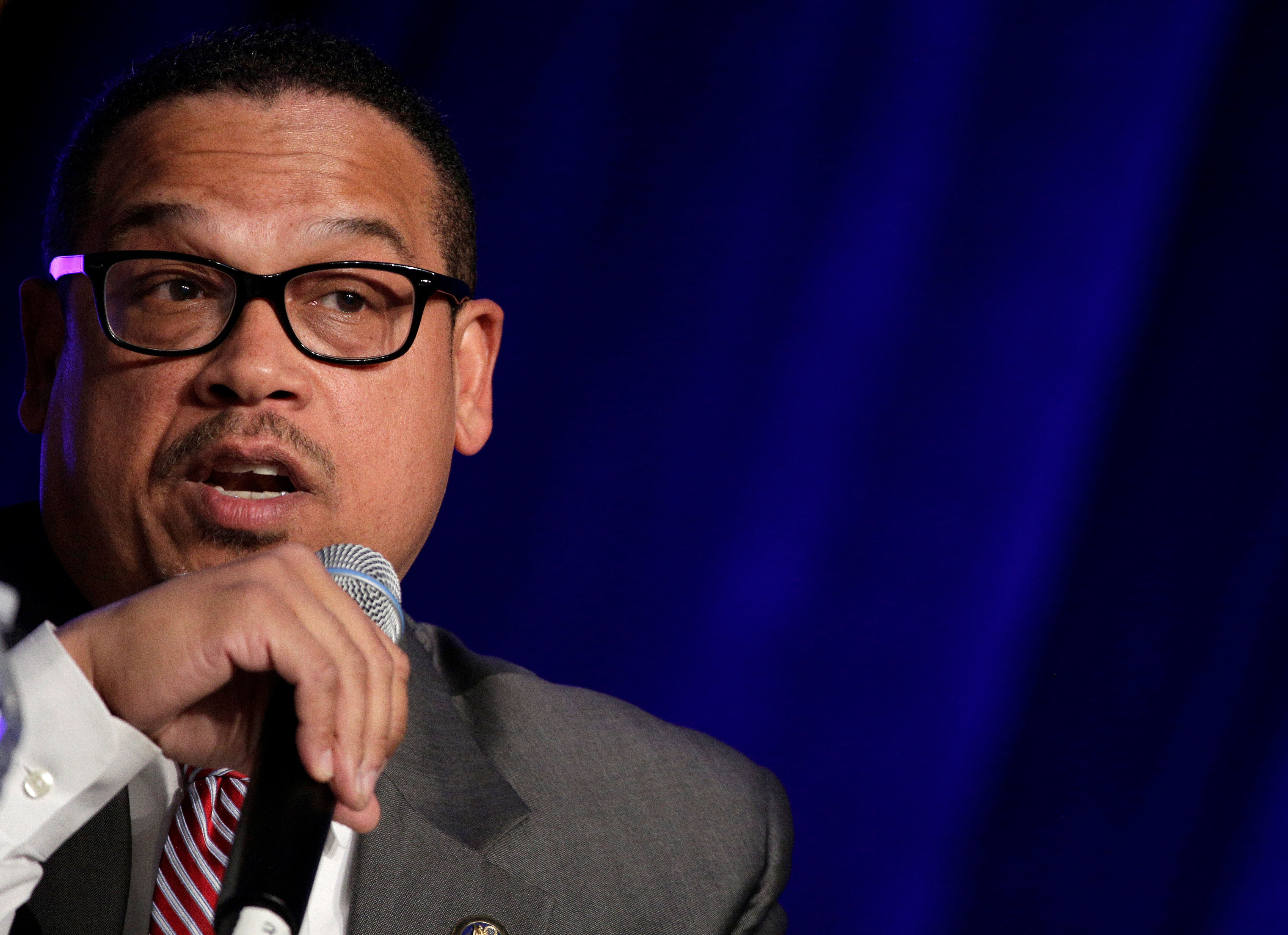 Rep. Keith Ellison (D-MN), a candidate for Democratic National Committee Chairman, speaks during a Democratic National Committee forum in Baltimore, Maryland, U.S., February 11, 2017.      REUTERS/Joshua Roberts