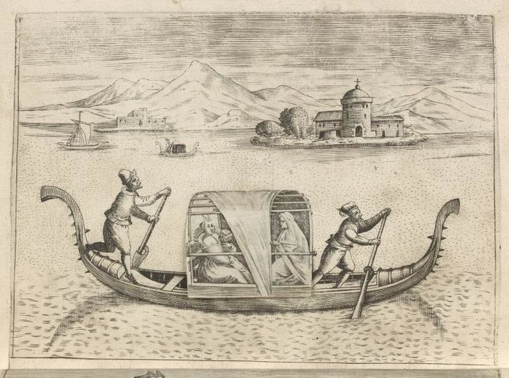 "Clearly the intended audience for this volume was one interested in titillating subject matter. It features several pages with flaps that when lifted expose a more risque composition underneath. Whereas one of the first images here shows a woman in a gondola being escorted by a female chaperone, the image beneath it is less decorous, revealing two lovers in an embrace. (Donato Bertelli, Italian, active 1568-74, ""Woman and Chaperone/Lovers,""&nbsp;<br />The Miriam and Ira D. Wallach Division of Art Prints and Photographs: Print Collection.)"