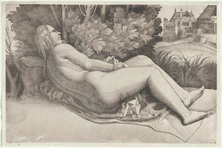 "Giulio Campagnola's reclining nude, which relates to the great ""Sleeping Venus"" (1510) by the Venetian Renaissance mast"