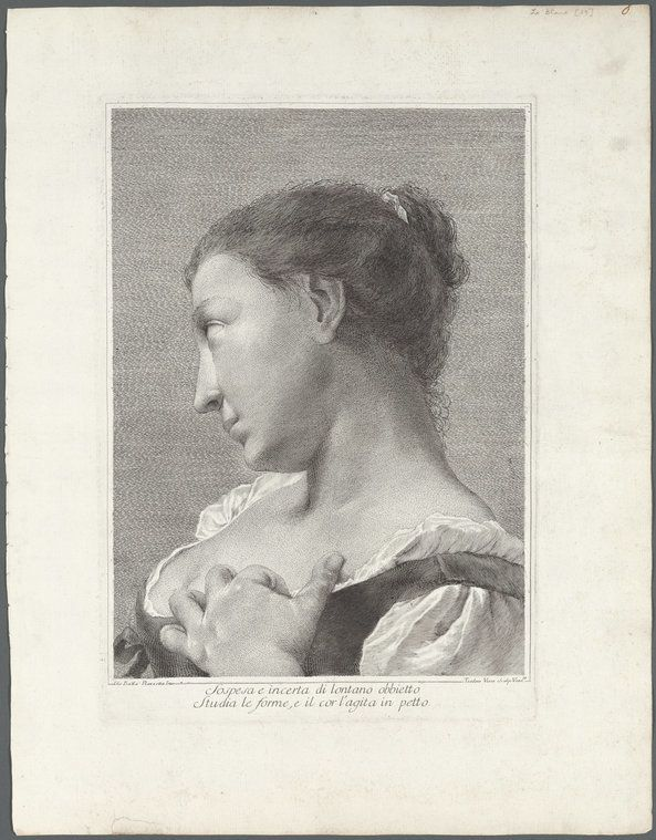 "Teodoro Viero modeled his image after one by Giovanni Battista Piazzetta, investing it with a frisson of heat. A woman, her head turned away from the viewer, touches her breast in a gesture that suggests longing while drawing attention to her ample bosom, an idea that is reinforced by the inscription. (Teodoro Viero, Italian, 1740–1819, ""Sospesa e incerta di lontano obbietto studia le forme e il cor l'agita in petto (Suspended and uncertain, she studies an object from afar as her heart beats against her breast),"" etching and engraving, ca. 1770–80, The Miriam and Ira D. Wallach Division of Art, Prints and Photographs, Print Collection.)"