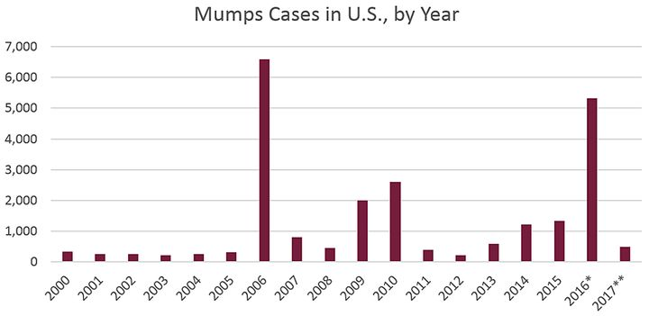 There have been several large mumps outbreaks in recent years in the U.S., prompting officials to consider recommending