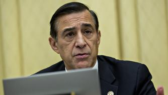 Representative Darrell Issa, a Republican from California, questions Representative Jason Chaffetz, a Republican from Utah and chairman of the House Oversight and Government Reform Committee, not pictured, during a House Judiciary Committee hearing in Washington, D.C., U.S., on Tuesday, May 24, 2016. The hearing is part of some Republican lawmakers' push to impeach International Revenue Service (IRS) Commissioner John Koskinen for allegedly failing to cooperate with an investigation after the IRS reportedly targeted conservative groups applying for tax-exempt status. Photographer: Andrew Harrer/Bloomberg