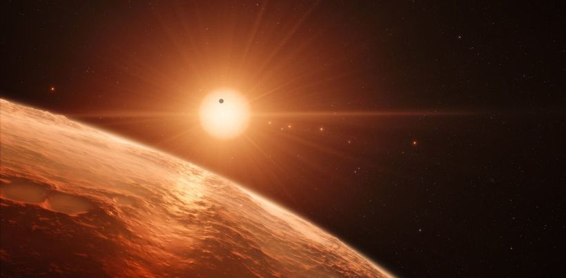 Artist impression of the Trappist-1 System.