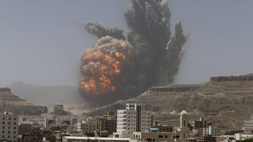<em>2015 - Saudi-led coalition's airstrike hits Yemeni Capital, Sana'a. Courtesy: Reuters.</em>