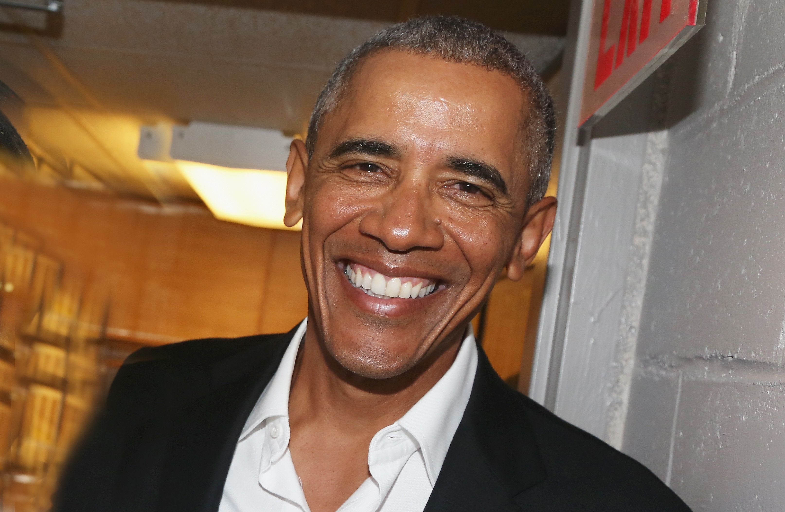 NEW YORK, NY - FEBRUARY 24:  (EXCLUSIVE COVERAGE) The 44th President of The United States Barack Obama, poses backstage at The Roundabout Theatre Company's production of 'Arthur Miller's The Price' on Broadway at The American Airlines Theatre on February 24, 2017 in New York City.  (Photo by Bruce Glikas/FilmMagic)
