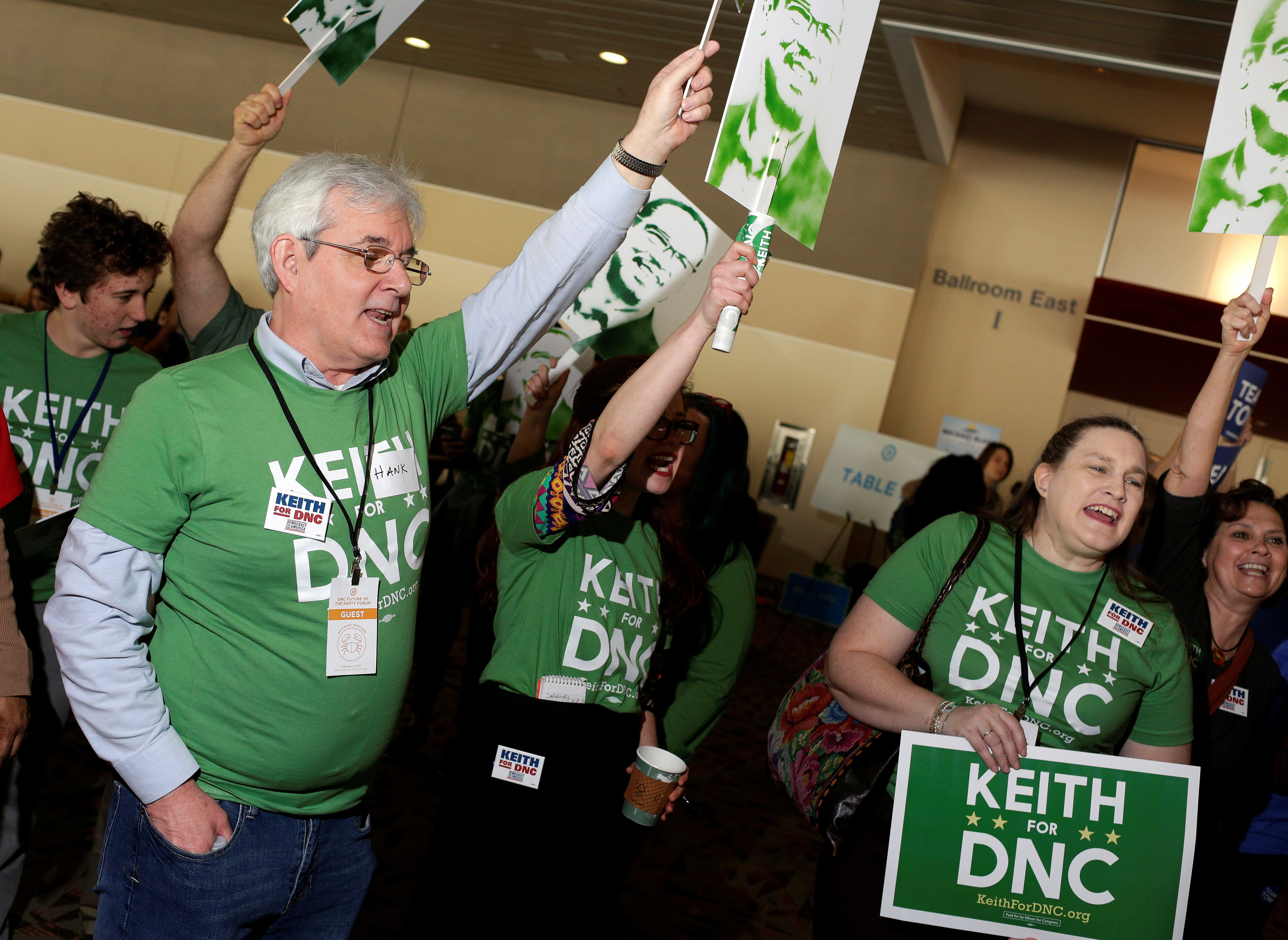 Supporters of Rep. Keith Ellison (D-Minn.), a candidate for Democratic National Committee Chairman, cheer...