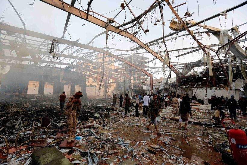<em>Oct, 2016 - About 1,000 people were killed and injured after a double-tap airstrike hit a funeral hall in Yemeni capital,