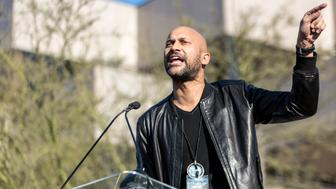 BEVERLY HILLS, CALIFORNIA - FEBRUARY 24:  Actor Keegan-Michael Key speaks at the United Voices Rally at United Talent Agency on February 24, 2017 in Beverly Hills, California.  (Photo by Greg Doherty/Patrick McMullan via Getty Image)