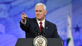 OXON HILL, MD - FEBRUARY 23: Vice President Mike Pence addresses the crowd during CPAC at the Gaylord National Resort & Convention Center on February 23, 2017 in Oxon Hill, Md. (Photo by Ricky Carioti/The Washington Post via Getty Images)