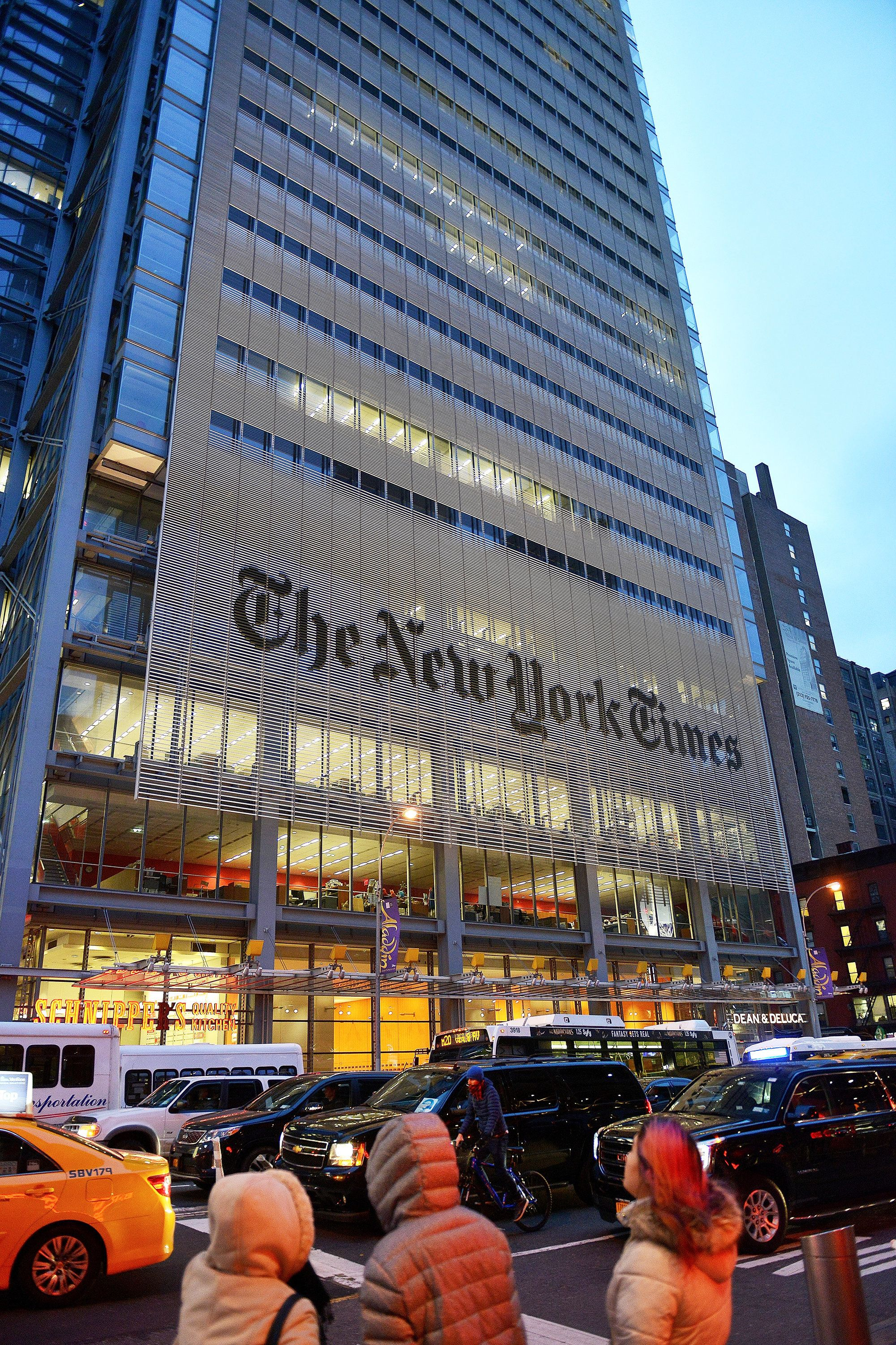 NEW YORK - JANUARY 29:  The skyscraper which is the headquarters of the New York Times on 42 street. (Photo by Andrea Franceschini by Corbis News via Getty Images).