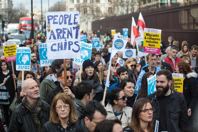 EU citizens living in the UK protest outside