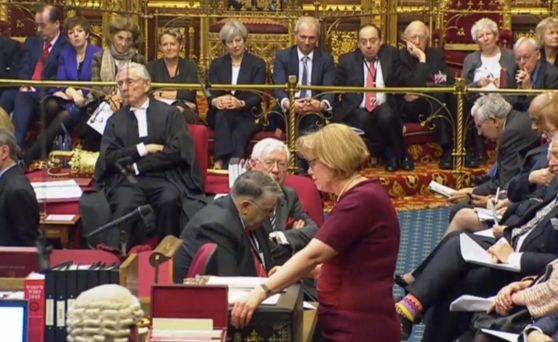Theresa May watches as Baroness Smith addresses the