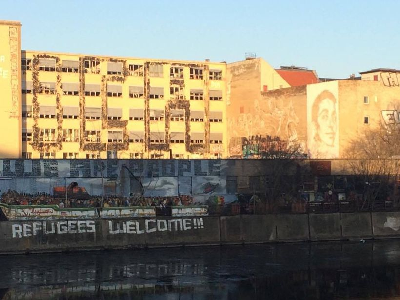One of many murals throughout Berlin making a statement about refugees.